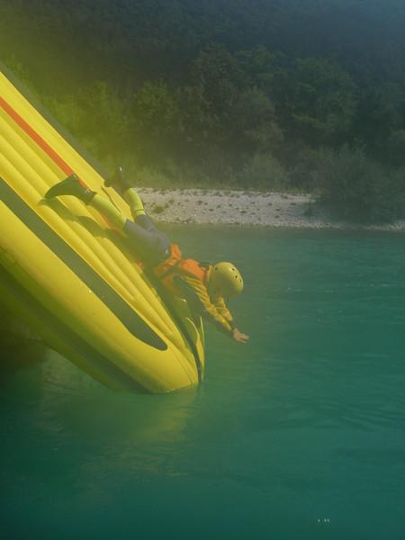 Jasmine sliding down the raft, great fun.