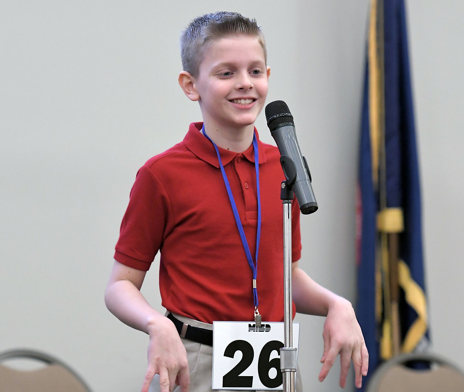 . Brendan Pawlicki a student at St. Lawrence Elementary School won the 2018 Macomb Regional Spelling Bee. MACOMB DAILY PHOTO BY DAVID DALTON