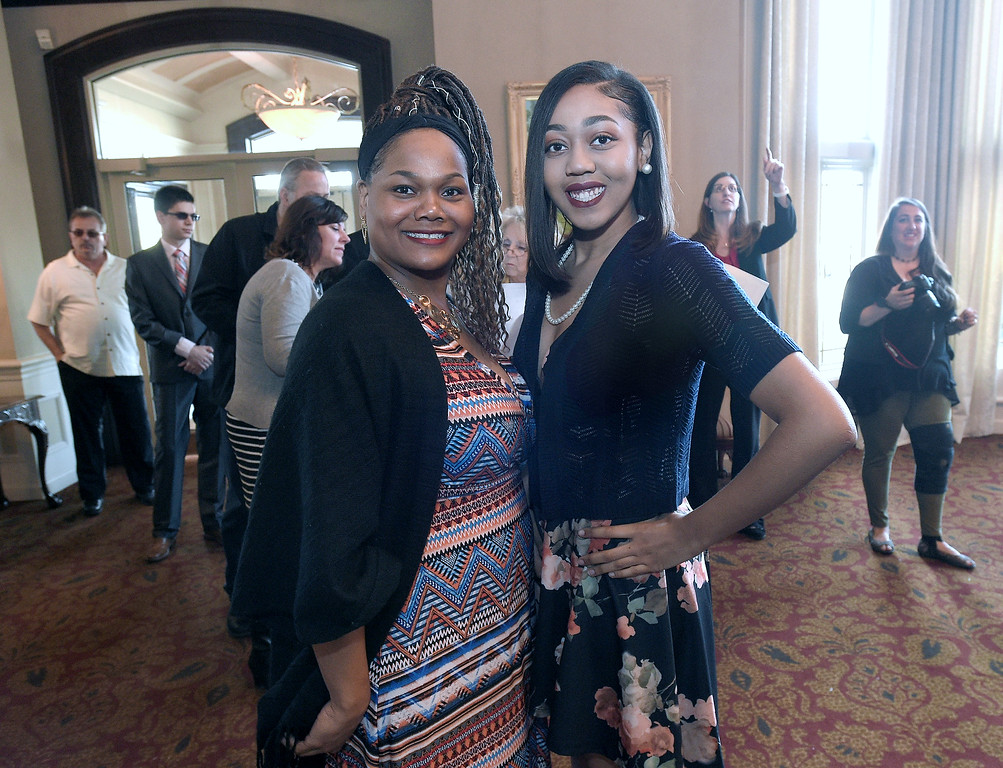 . Hope Wade poses with her daughter Leah Payne,  a senior at South Lake High School, before the All Academic Banquet on April 25, 2018. MACOMB DAILY PHOTO GALLERY BY DAVID DALTON