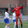 Rachel Russo of Anchor Bay heads the ball during the match between Anchor Bay and Lakeview on May 5, 2017.  (MIPrepZone photo gallery by David Dalton)