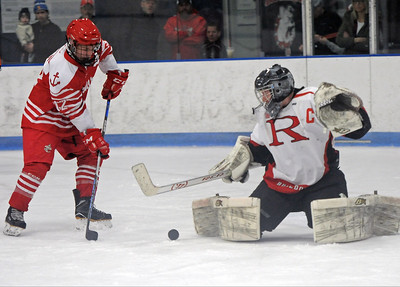 Austin Walny (12) of Anchor Bay scores the first goal.  Anchor Bay defeated Romeo 4-3 in overtime on January 5, 2019. THE MACOMB DAILY PHOTO GALLERY BY DAVID DALTON