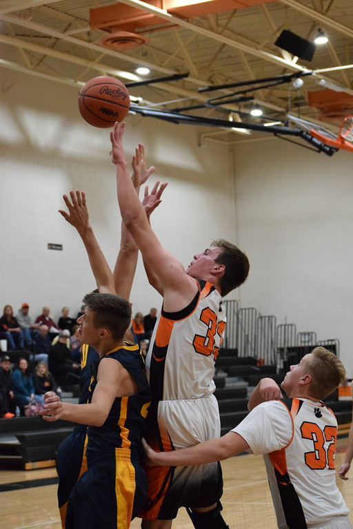 . Armada\'s Nolan Petz (33) puts up a shot against Memphis in a non-conference boys basketball game on December 5, 2017. THE MACOMB DAILY PHOTO GALLERY BY CHUCK PLEINESS