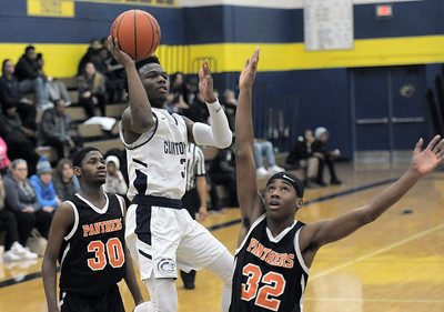 Richard Washington (3) of Clintondale puts up a shot during the match between Center Line and Clintondale on January 3, 2019. THE MACOMB DAILY PHOTO GALLERY BY DAVID DALTON