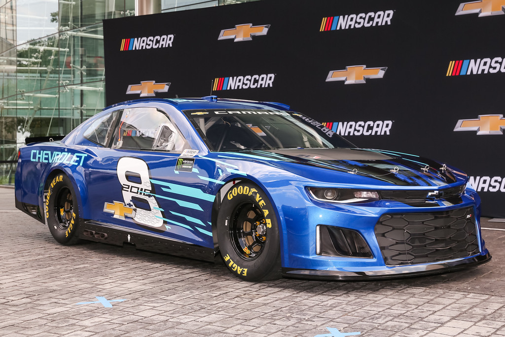 . The Chevrolet 2018 Camaro ZL1 NASCAR Cup Race Car makes its world debut Aug. 10, 2017, in front of  General Motors headquarters in Detroit.