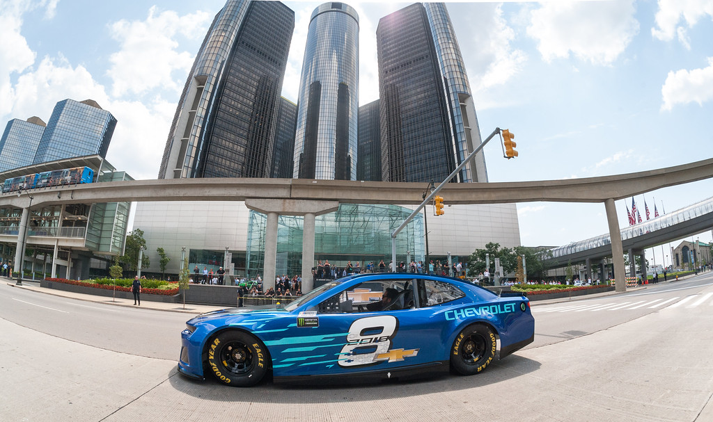 . Seven-time NASCAR Cup champion Jimmie Johnson drives the Chevrolet 2018 Camaro ZL1 Cup race car on Jefferson Avenue on Aug. 10, 2017, in front of the General Motors headquarters  in Detroit. The Camaro ZL1 will make its debut next February during Daytona Speedweeks, which kicks off the 2018 NASCAR season.