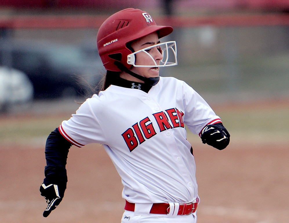 . Gina Liss (1) of Chippewa Valley runs to first after geting a hit during the match between Cousino and Chippewa Valley on April 13, 2018. MACOMB DAILY PHOTO GALLERY BY DAVID DALTON