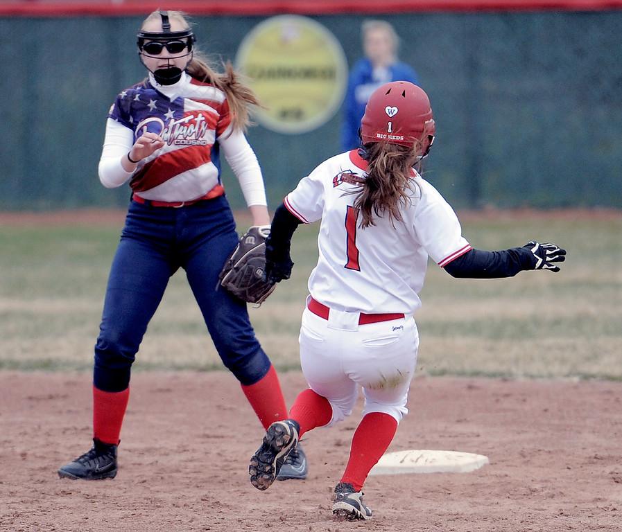 . Gina Liss (1) of Chippewa Valley slides in to second after geting a hit during the match between Cousino and Chippewa Valley on April 13, 2018. MACOMB DAILY PHOTO GALLERY BY DAVID DALTON