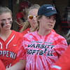 Chippewa Valley coach Claire Kapral talks to her team between innings.(MIPrepZone photo gallery by Chuck Pleiness)
