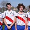 Cousino's first-place 3200 relay team, from left, Joel Koshko, Arnes Besic, Drew Demaris and Jack Koshko. Cousino won the girls meet and Sterling Heights won the boys as the Warren Consolidated rivals met in MAC Blue Division track & field on April 18, 2017. (MIPrepZone photo gallery by George Pohly)