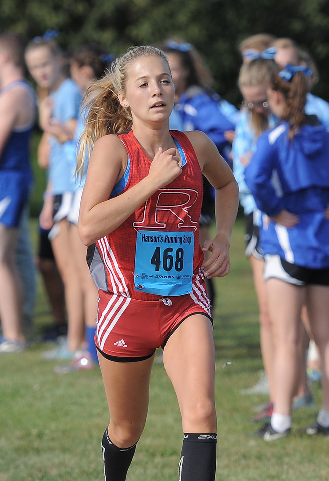 Maddy Malczewski of Romeo comes in second during the cross country red division Jamboree at Westview Orchards in Romeo on September 12, 2017. THE MACOMB DAILY PHOTO GALLERY BY DAVID DALTON