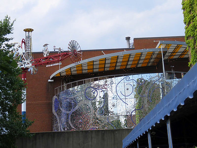 Whirligig and the mosaic facade near the entrance, July 4, 2017