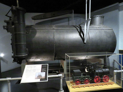 "parts from the ""Stourbridge Lion"" steam locomotive, the first commercial railroad locomotive to operate in the Western Hemisphere in 1829, February 25, 2018"