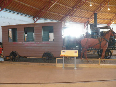 One of the earliest rail cars, pulled by a horse rather than an engine