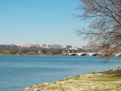 the Potomac River and the bridge to Arlington