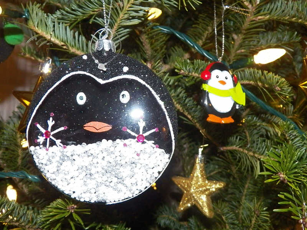 penguin ornaments on my sister's Christmas tree, 2014
