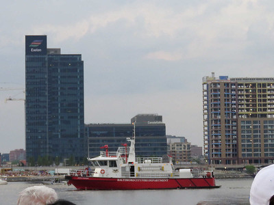 Baltimore fire department boat on its way to its station before the fireworks started