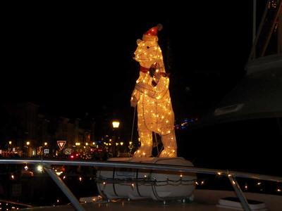 lit-up polar bear on a boat