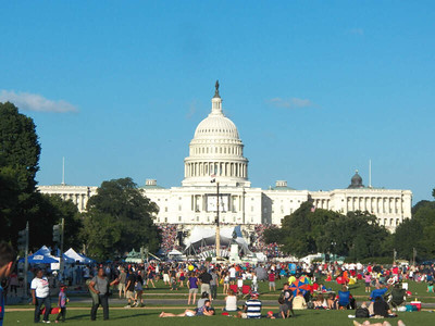 the Capitol building, seen from the National Mall