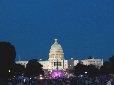 the Capital after sunset, seen from the National Mall