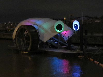 Mr Trash Wheel, with human helpers