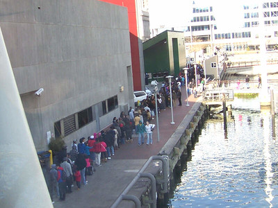 Dollar Days at the aquarium - the very long admission line goes around the building