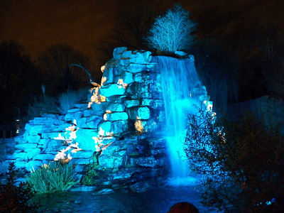 waterfall with lights