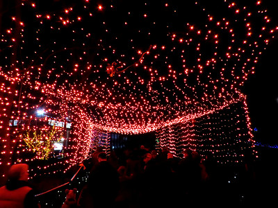 walk-through tunnel of red lights