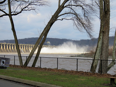 large amount of water flowing from dam, December 22, 2018