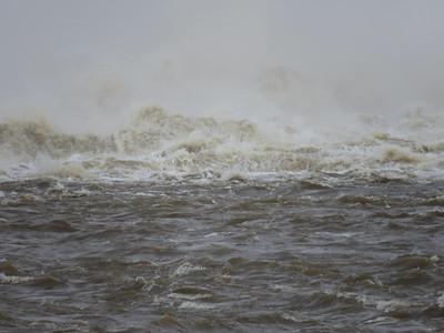 turbulent water just below the dam, December 22, 2018