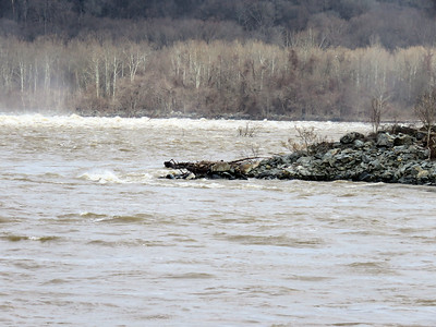 high  and turbulent water in the Susquehanna River, December 22, 2018