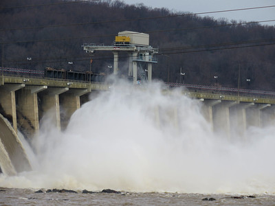 Spray kicked up by the large amount of water flowing from dam, December 22, 2018