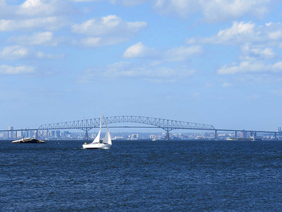 a sailboat passing the Chesapeake Bay Bridge, October 7, 2017