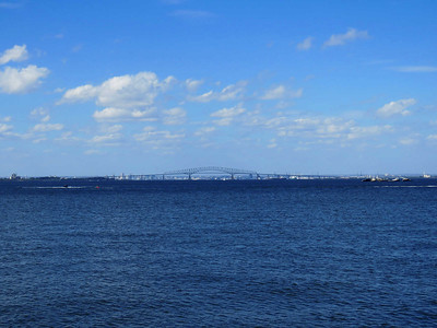view of the Chesapeake Bay, including the Chesapeake Bay Bridge, from Fort Smallwood, October 7, 2017