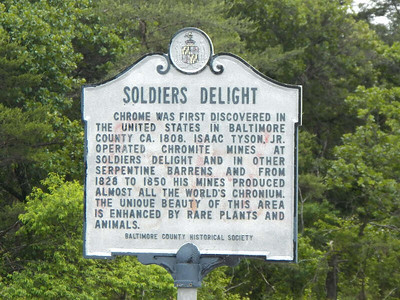 historical society sign about Soldiers Delight