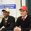 Brett Droski, right, of Dakota will continue his football career at Saginaw Valley State.
