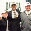 Dakota football players, from left, Kaiser Carleton, Jaylen Hall and Brendan Siwajek are headed to Western Michigan.