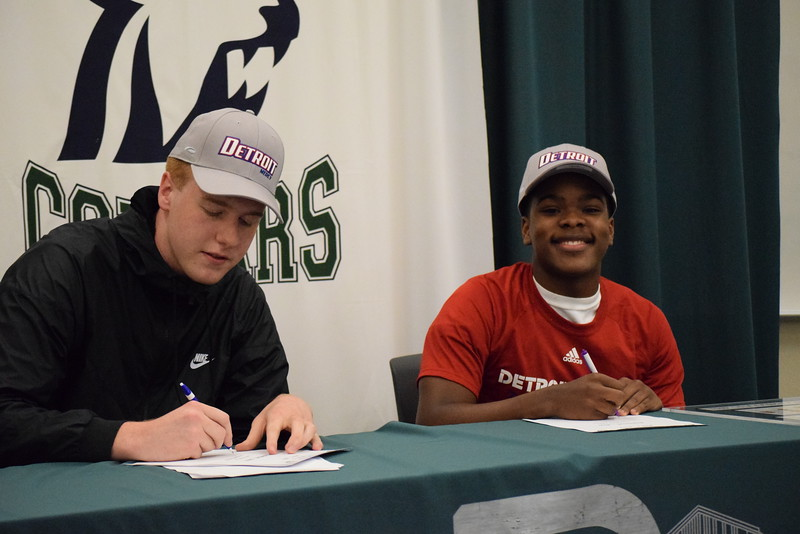 Dakota's Jack Ballantyne (left) and Jermaine Jackson Jr. announced Monday they will play basketball next season at the University of Detroit Mercy. (MIPrepZone photo gallery by Chuck Pleiness)
