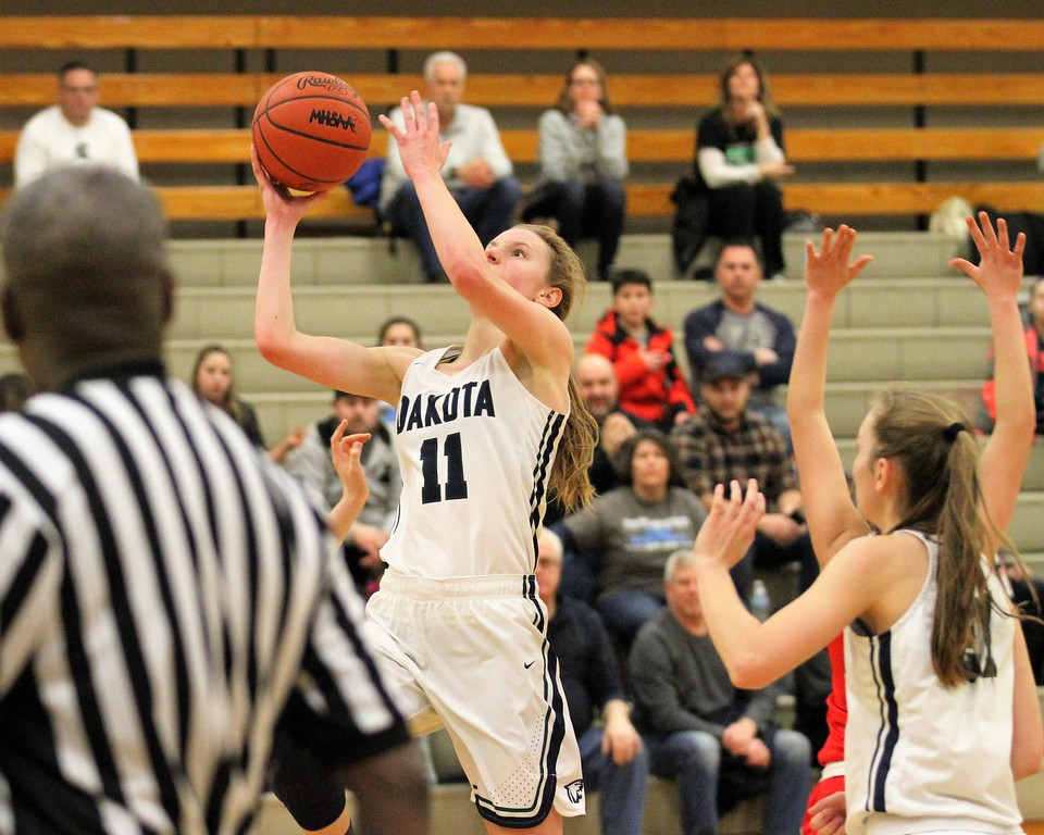 . Tara Bieniewicz of Dakota drives to the basket late in the 4th quarter. Dakota defeats Cousino late 49-43 at Dakota on February 13, 2018. THE MACOMB DAILY PHOTO GALLERY BY GEORGE SPITERI