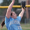 Erin Shuboy (19) of Richmond throws a pitch during the scrimage between Richmond and Dakota on April 11, 2017.  (MIPrepZone photo gallery by David Dalton)