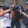 Kattie Popko (3) of Dakota gets a hit during the scrimage between Richmond and Dakota on April 11, 2017.  (MIPrepZone photo gallery by David Dalton)