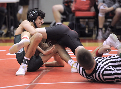 Nick Alayan of Dakota wins in the  125 class over Christian Robbins of Romeo. THE MACOMB DAILY PHOTO GALLERY BY DAVID DALTON