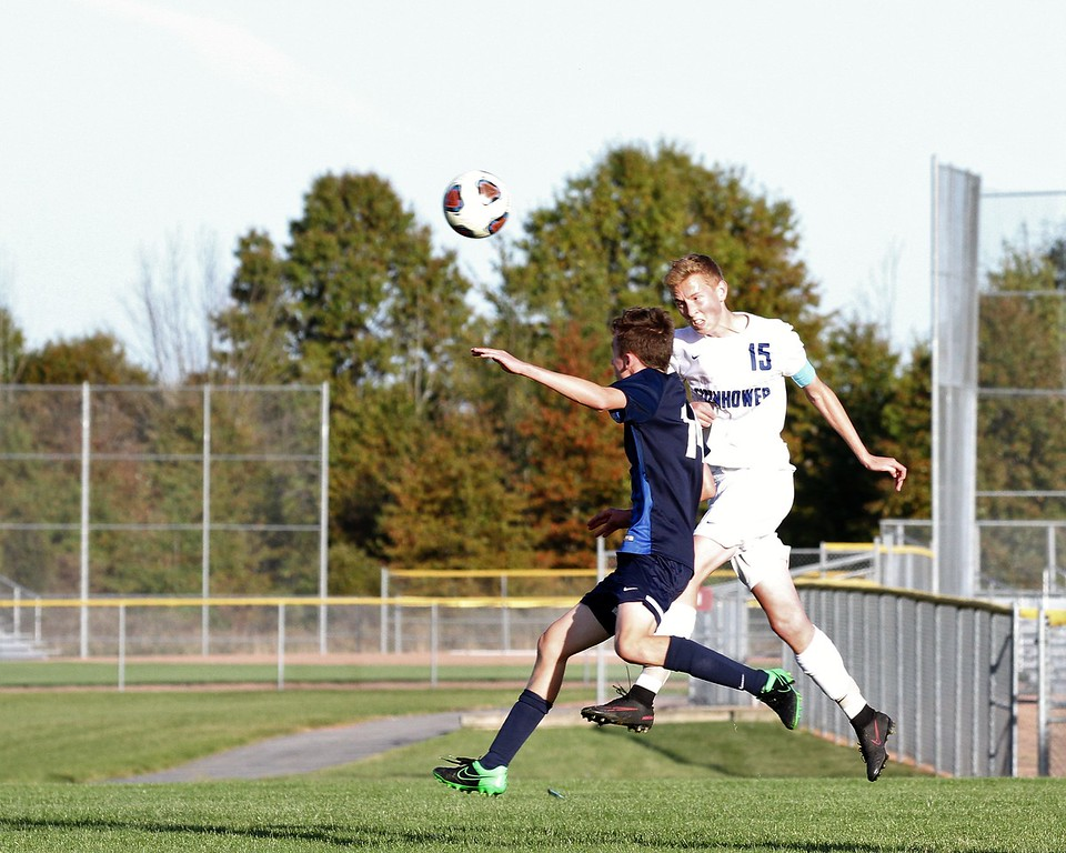 . In the 35th minute of the first half, Chris DeClercq with a header (15) puts Eisenhower up 1-0 over Dakota. Eisenhower gets past Dakota by a score of 2-1 to capture the district title hosted at Anchor Bay on Friday, October 20, 2017. Macomb Daily photo gallery by George Spiteri.