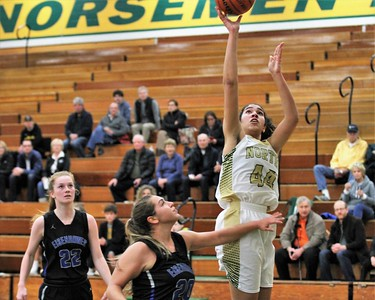 Christina Braker of Grosse Pointe North goes up for a basket.Eisenhower traveled to Grosse Pointe North for a MAC Red girls basketball game on January 8, 2019. Digital First Media photo gallery by George Spiteri.