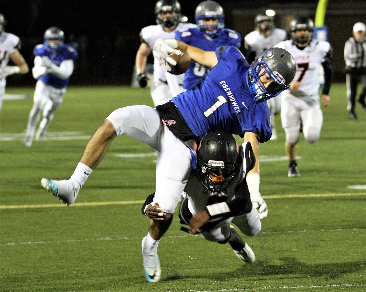 Warren-Mott's Kavan Higdon brings down Assad Bujaidar of Eisenhower and denies he long reception going all the way. This play gives Ike great field position which results in their 2nd touchdown. Eisenhower continues to roll with a 52-0 win over Utica on Friday, October 27, 2017. Macomb Daily photo gallery by George Spiteri.
