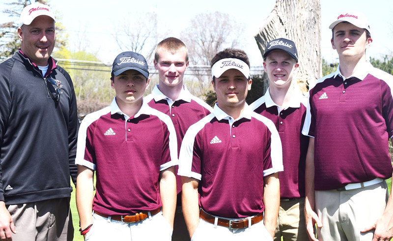 Ford golfers and coach Justin Lease get together after the Falcons shot a team score of 320 to win the Evans-Gill Memorial Invitational at Gowanie Golf Club. Front row, from left, Owen Tucci and medalist Drew Tucci. Back row, from left, Lease, Hunter Chapman, Ryan Conway and Peyton Thomas.