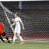 Lorenzo Ventura (7) puts the ball in the back of the net past Ford player Brendan Cooper (5), it was the only goal of the first half. Ford hosted Chippewa Valley in boys soccer Monday night and ended with a final score of 3-3. (MIPrepZone photo gallery by Jon Kohlmann).