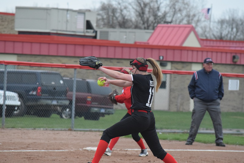 Chippewa Valley pitcher Brooke Misch was in the circle against visiting Fraser Thursday afternoon. (MIPrepZone photo gallery by Jim Evans)