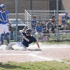 GEORGE POHLY -- THE MACOMB DAILY<br /> Paul Gieglehem of Fraser slides home to score on a sacrifice fly in the first inning at Warren Woods-Tower. Fraser defeated Warren Woods-Tower 24-13 to clinch the MAC Gold championship on May 17, 2017. (MIPrepZone photo gallery by George Pohly)