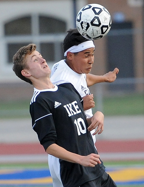 . Edgar Barbosa  (8) of Fraser heads the ball past Adam Dejong (10) of Eisenhower during the match between Fraser and Eisenhower on September 11, 2017.  THE MACOMB DAILY PHOTO GALLERY BY DAVID DALTON