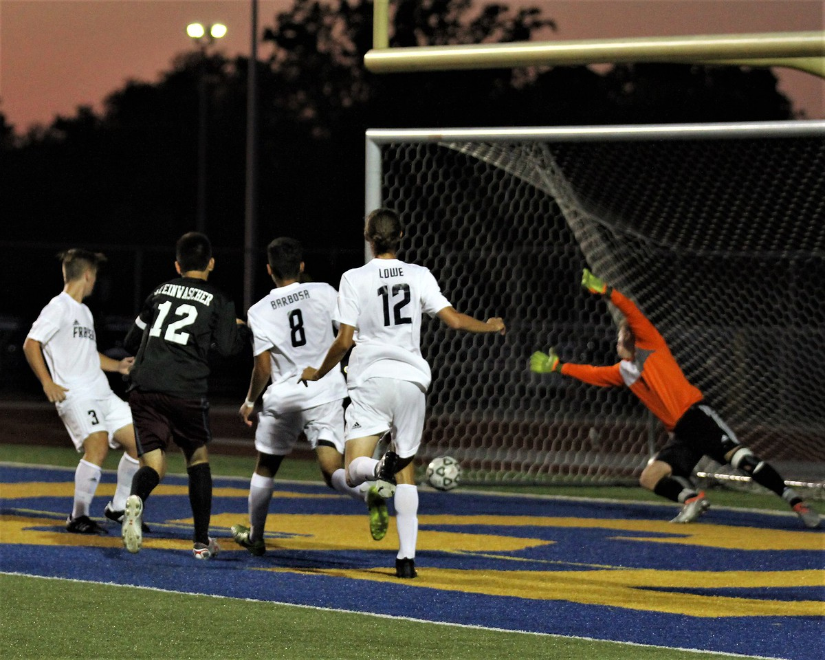 Alex Steinwascher (12) of Ford is able to get through the Fraser defenders and find the far post to give the Falcons 1-0 lead 4 minutes into the contest. Ford defeated Fraser 1-0 in a MAC Red Division contest at Fraser on Monday, October 9, 2017. Macomb Daily photo gallery by George Spiteri.